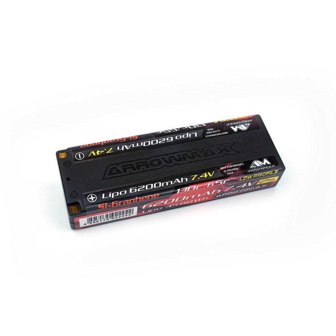 Arrowmax 700707 - AM Lipo 6200mAh 2S TC Low Profile - 7.4V 65C Continuos 130C Burst (Si-Graphene)