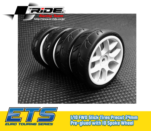 Ride 1/10 Slick Tires Precut 24mm Pre-glued with 10 Spoke Wheel White, 4pcs.